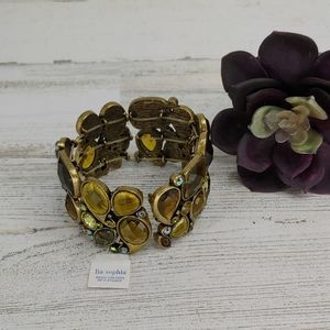 Lia Sophia New Gold Jeweled Beveled Bracelet